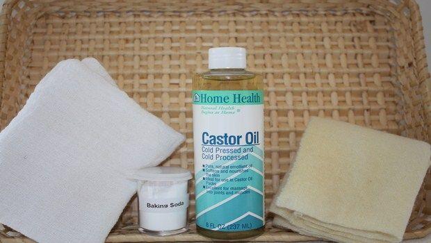natürliche Heilmittel für Gallenblase Schmerz-Rizinusöl Kompresse