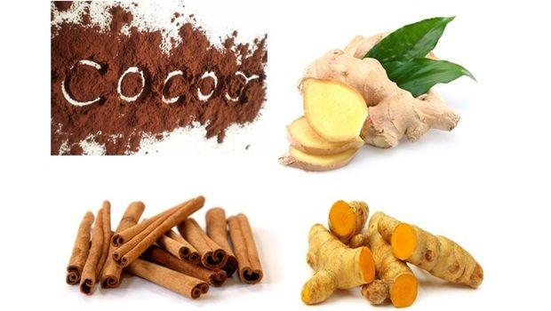 Ingwer, Kurkuma, Kakao, Zimt und Cayenne