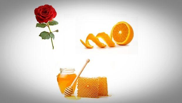 Gesichtsmaske Rose - Rose, Honig und Orangenschale Gesichtsmaske für glatte und strahlende Haut