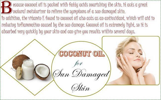 Sonne geschädigter Haut Behandlung - Kokosöl