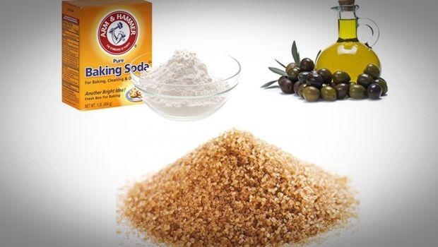 Fußpeeling Rezept - hausgemachten Peeling Fußpeeling Rezept - Backpulver, Olivenöl und brauner Zucker
